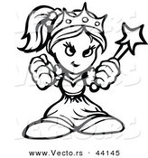 Vector of a Powerful Cartoon Princess Holding up Fists - Outlined Coloring Page Version by Chromaco