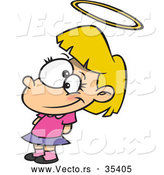 Vector of a Pretending Innocent Cartoon Angelic Girl with a HaloPretending Innocent Cartoon Angelic Girl with a Halo by Toonaday
