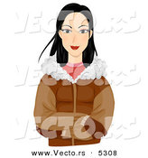 Vector of a Pretty Cartoon Eskimo Girl Wearing a Jacket and Gloves in Cold Weather by BNP Design Studio