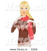 Vector of a Pretty Cartoon Girl Wearing Warm Winter Clothes by BNP Design Studio