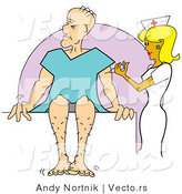 Vector of a Pretty Cartoon Nurse Giving Sick Man a Shot in His Arm by Andy Nortnik