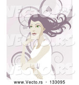 Vector of a Pretty Lady with Long Hair, Looking off into the Distance over a Background of Swirls by AtStockIllustration