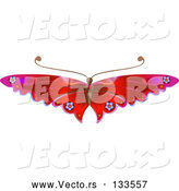 Vector of a Pretty Red Butterfly with Flower Decoration on the Wings by AtStockIllustration
