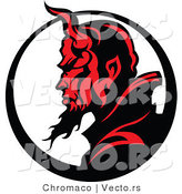 Vector of a Profiled Devil Mascot with Horns and a Long Flaming Gotee by Chromaco