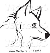Vector of a Profiled Dog Face - Black Lineart by Lal Perera
