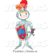 Vector of a Proud Boy Wearing Armored Knight Gear with a Shield and Sword by Pushkin
