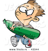 Vector of a Proud Cartoon Boy Carrying a Giant Zucchini from His Garden by Toonaday