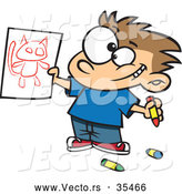 Vector of a Proud Cartoon Boy Showing His Cat Drawing by Toonaday