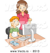 Vector of a Proud Cartoon Computer Teacher Helping a Happy School Boy by BNP Design Studio