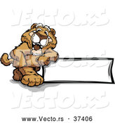 Vector of a Proud Cartoon Cougar Mascot Leaning Against a Blank Sign by Chromaco