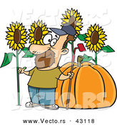 Vector of a Proud Cartoon Farmer with a Green Thumb Standing Beside His Big Sunflowers and Pumpkin by Toonaday