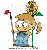 Vector of a Proud Cartoon Girl Posing Beside a Big Sunflower with a Garden Hoe by Toonaday