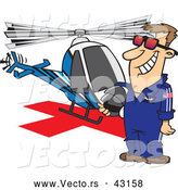 Vector of a Proud Cartoon Helicopter Pilot Standing and Waiting Beside His Helicopter by Toonaday