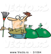 Vector of a Proud Cartoon Man Holding a Rake While Standing Beside a Couple Bags Full of Leaves by Toonaday