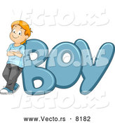 Vector of a Proud Cartoon School Kid Leaning Against the Word 'BOY' by BNP Design Studio