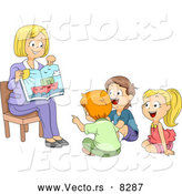 Vector of a Proud Cartoon Teacher Showing a Picture Book to Her Students by BNP Design Studio
