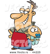 Vector of a Proud Stay at Home Cartoon Dad Holding Beside His Baby Boy by Toonaday