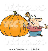 Vector of a Pround Cartoon Man Standing Beside a Giant Uncarved Halloween Pumpkin by Ron Leishman