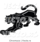 Vector of a Prowling Black Panther Mascot Preparing to Attack by Chromaco