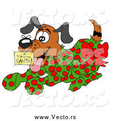 Vector of a Puppy Wrapped in Green and Red Polka Dot Wrapping Paper by LaffToon