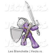 Vector of a Purple Knight with a Sword and Shield by Leo Blanchette