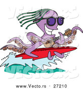 Vector of a Purple Octopus Playing a Banjo and Surfing by Toonaday