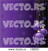 Vector of a Purple Snowflake Background with Christmas Baubles by Pushkin