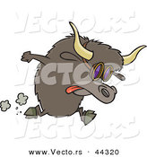 Vector of a Racing Cartoon Yak Wearing Goggles by Toonaday