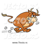 Vector of a Raging Charging Bull Running with Smoke Coming out of His Nose by LaffToon