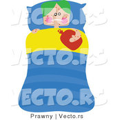 Vector of a Really Sick Boy Laying in Bed by Prawny