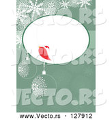 Vector of a Red Bird Talking in Blank Bubble over a Green Christmas Bauble Background by MilsiArt