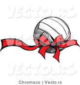 Vector of a Red Bow and Ribbon Wrapped Around Volleyball Gift by Chromaco