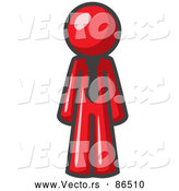 Vector of a Red Business Person Wearing a Tie, Standing with His Arms at His Side by Leo Blanchette