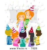 August 23rd, 2015: Vector of a Red Haired Caucasian Mother Surprising Her Birthday Girl by BNP Design Studio