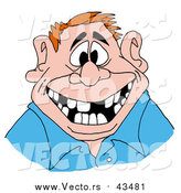 Vector of a Red Haired Man Flashing a Big Friendly Smile with a Mouth Numerous Missing Teeth by LaffToon