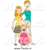 Vector of a Red Haired Mom Standing with Her Two Daughters by BNP Design Studio