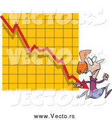 Vector of a Red Haired Scared Businesswoman Running from a Chart Arrow by Toonaday