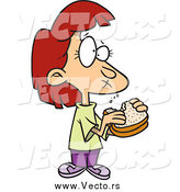 Vector of a Red Haired White Cartoon Girl Eating a Sandwich by Toonaday