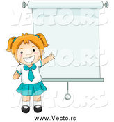 Vector of a Red Haired White School Girl by a Presentation Screen by BNP Design Studio