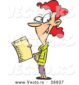 Vector of a Red Haired White Woman Holding a Top Ten List by Toonaday