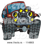 Vector of a Red Jeep Vehicle with Big Tires and Lots of Lights by Dennis Holmes Designs