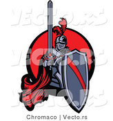 Vector of a Red Knight Holding Shield and Sword over Circle Icon by Chromaco