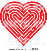 Vector of a Red Labyrinth Love Heart by Zooco