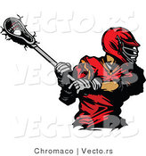 Vector of a Red Lacrosse Player Swinging Stick by Chromaco