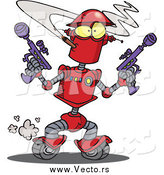 Vector of a Red Robot Smoking a Cigarette and Holding Ray Guns by Ron Leishman