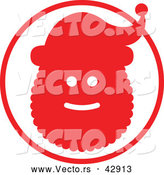 Vector of a Red Santa Silhouette Within a Red Circle by Zooco