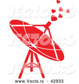 Vector of a Red Satellite Dish Emitting Love Hearts by Zooco
