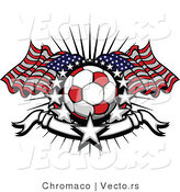 Vector of a Red Soccer Ball with American Flags Surrounded by Stars and a Blank Banner by Chromaco