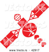Vector of a Red Space Satellite Shooting Love Hearts by Zooco
