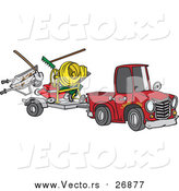 Vector of a Red Truck Pulling Trailer with Landscaper Equipment - Cartoon Style by Toonaday